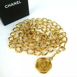 AUTHENTIC CHANEL CC MARK SIDE DOUBLE CHAIN BELT